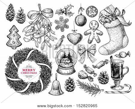 Christmas object set. Hand drawn vector illustration. Xmas icons collection. Holiday engraved decorations. Holly, mistletoe, wreath, sock, stocking, gift, fir tree, pine cone, gingerbread man cookie, bell bow mulled wine candy
