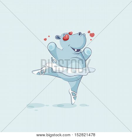 Vector Stock Illustration isolated Emoji character cartoon ballerina Hippopotamus in love flying with hearts sticker emoticon for site, info graphic, video, animation, website, mail, newsletter, comic