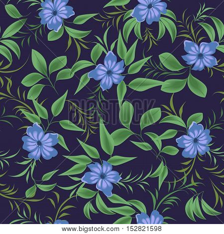 Exotic blue flowers among the green branches. Seamless pattern with blue flowers.