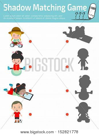 Shadow Matching Game for kids, Visual game for child . Connect the dots picture,Education Vector Illustration, children play with toys