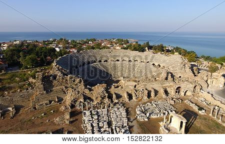 ruins of the ancient city of Side and the Amphitheatre photo with the bird's flight
