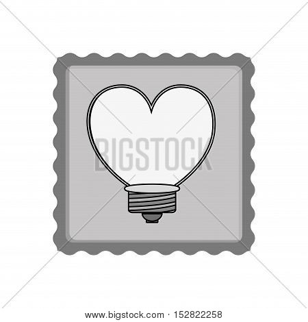 post stamp with heart shape bulb icon inside . vector illustration