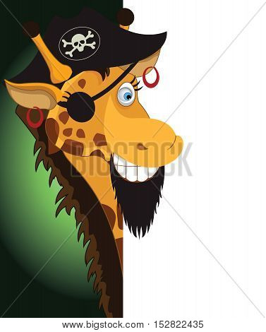 Fun Cartoon Pirate Giraffe looking at a blank white page for use in advertising presentations brochures blogs documents and forms etc