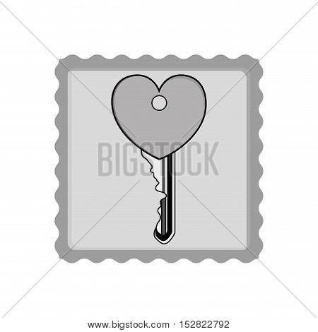 post stamp and key with heart shape icon silhouette inside. vector illustration