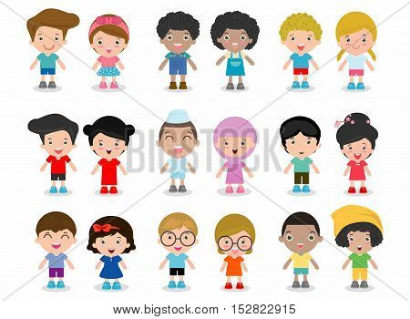 Set of diverse kids isolated on white background.