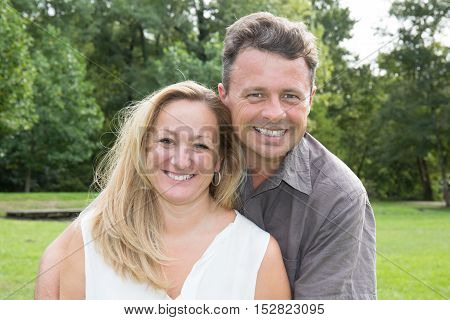 Happy Mature Couple In Love. Park Outdoors.