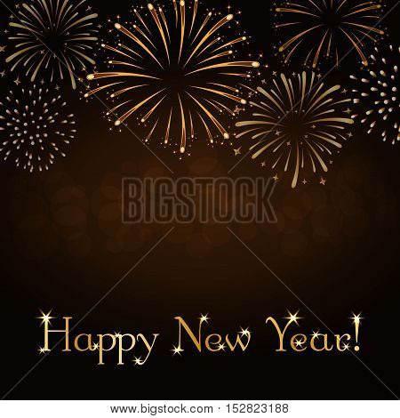 Happy New Year holiday background. Gold abstract firework for card greeting Xmas celebrate banner. Light glow sparkle. Merry Christmas celebration design. Golden decoration Vector illustration