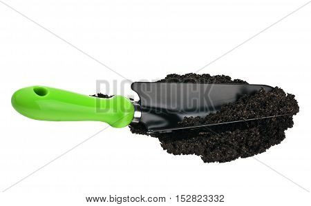 garden spade in the ground isolated on white background