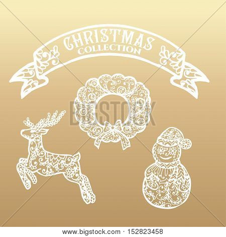 Christmas collection. Icons with mandala ornament. Vector illustration