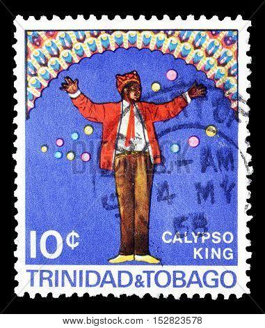 TRINIDAD AND TOBAGO - CIRCA 1968 : Cancelled postage stamp printed by Trinidad and Tobago, that shows Calypso king.