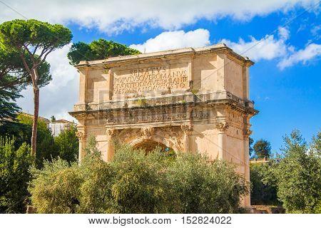 The Arch of Roman emperor Titus on Forum Romanum, Rome, Lazio, Italy