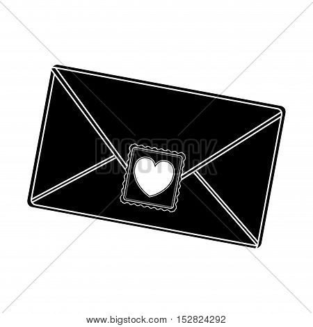 envelope letter with post stamp hearth shape. vector illustration