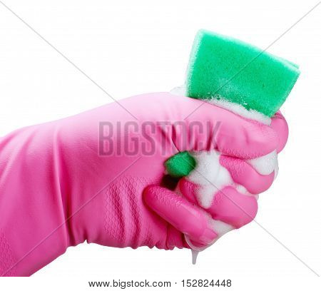 Hand holding white cleaning sponge isolated on white
