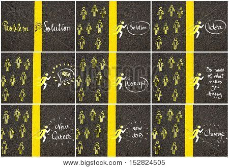 Concept Images Over Road Marking Yellow Paint Dividing Line