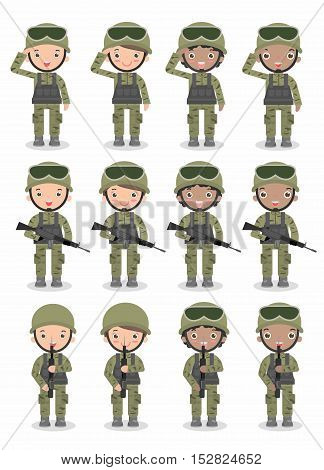 set of soldiers. men and women. flat cartoon character design isolated on white background. US Army Isolated vector illustration.