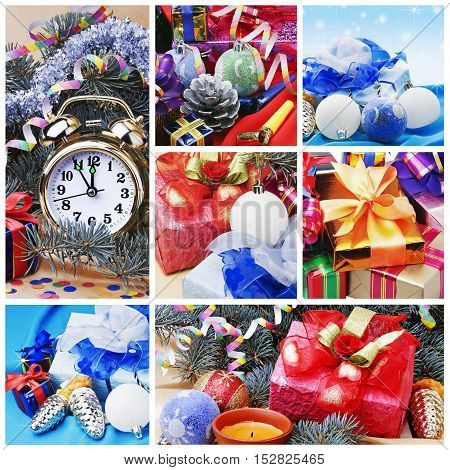 Christmas collage of toys, gifts and decorations