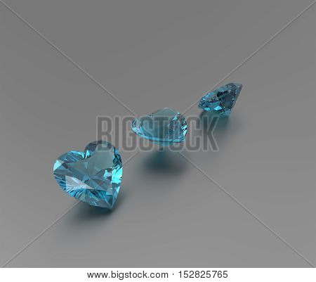 3D rendering with blue diamonds. Fashion Jewelry