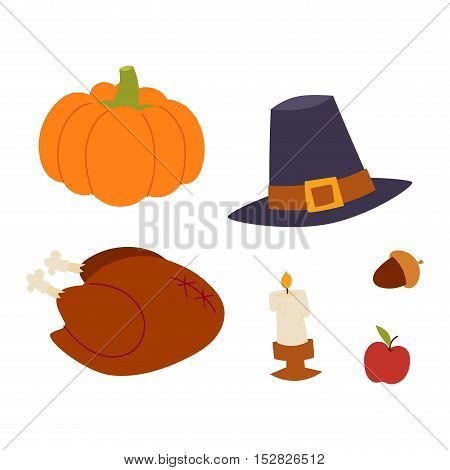 Happy thanksgiving day card design with holiday objects. Fresh food harvest autumn season thanksgiving day vector set. Traditional seasonal nature vegetable thanksgiving day pumpkin food.