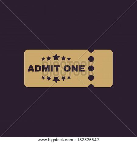 The ticket icon. Ticket symbol. Flat Vector illustration