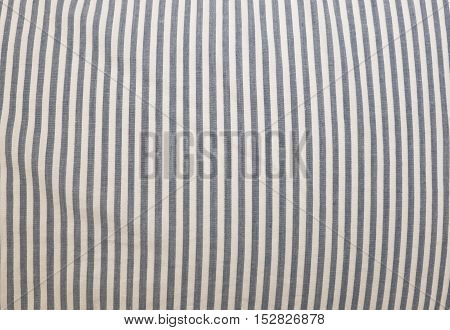 Fabric Texture Close Up of Dark Blue and White Stripes Pattern Background.
