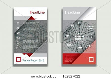 red and gray colors annual report Leaflet Brochure Flyer template design, book cover layout design, Abstract presentation templates, flyer infographics template, vector background