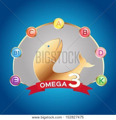omega 3 icon and logo , vector . and vitamin fish set