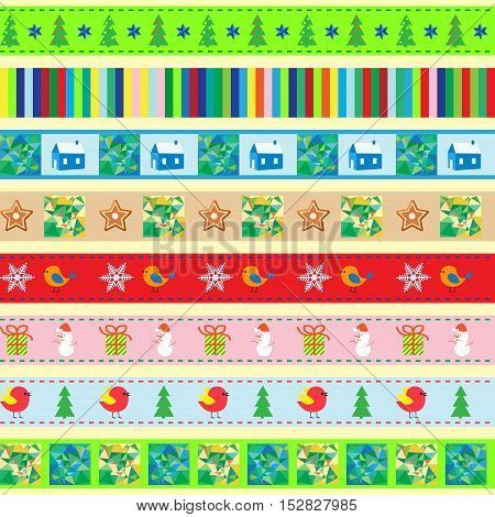 Vintage Christmas background eight seamless pattern and seamless tape in palettes seamless borders