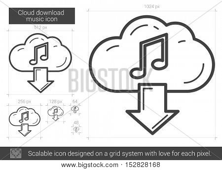 Cloud download music vector line icon isolated on white background. Cloud download music line icon for infographic, website or app. Scalable icon designed on a grid system.