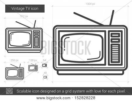 Vintage TV vector line icon isolated on white background. Vintage TV line icon for infographic, website or app. Scalable icon designed on a grid system.