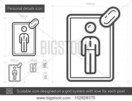 Personal details vector line icon isolated on white background. Personal details line icon for infographic, website or app. Scalable icon designed on a grid system.