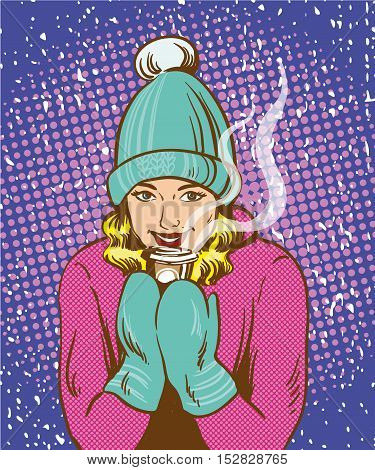 Beautiful girl in warm hat and gloves holding hot drink. Winter warm up concept in retro comic pop art style.