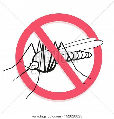 Mosquito prohibited sign. For informational and institutional related sanitation and care. Warning. Vector illustration.