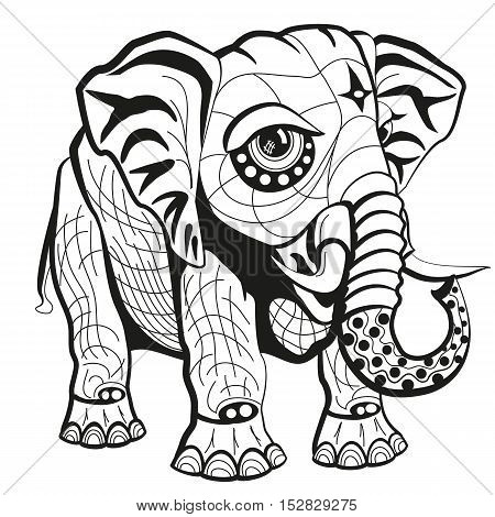 Ornate elephant. Isolated vector illustration. Ornament on white background. Use for tattoo, print, posters, t-shirts and other textiles.