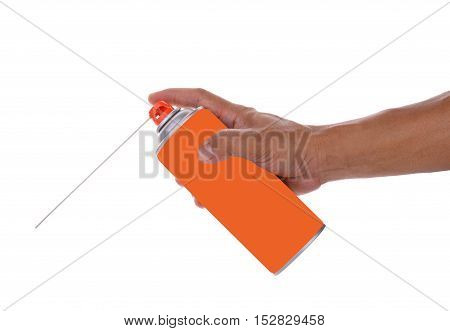 man hand holding insecticide isolated on white