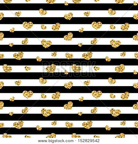 Golden hearts stripes seamless pattern. Gold glitter and black template. Abstract texture. Retro Valentine day design for card wallpaper wrapping textile fabric etc. Vector Illustration