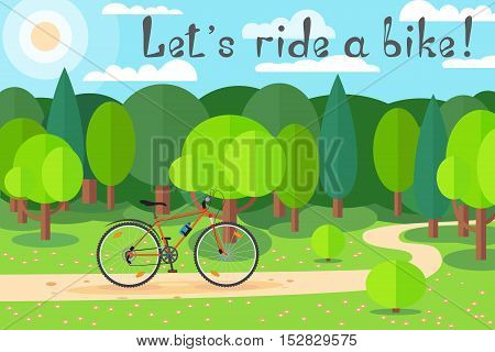 Cycling on a sunny day in the forest. Joy to ride a bike. Let's ride a bike!