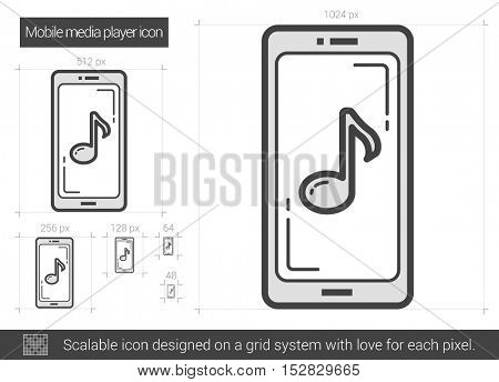 Mobile media player vector line icon isolated on white background. Mobile media player line icon for infographic, website or app. Scalable icon designed on a grid system.