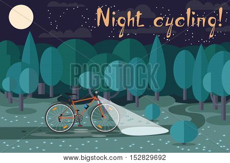 Night riding on the bike. Cycling at night. Interesting night ride on a bicycle in the park. Night cycling!