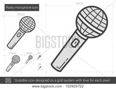 Radio microphone vector line icon isolated on white background. Radio microphone line icon for infographic, website or app. Scalable icon designed on a grid system.