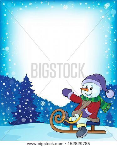 Snowman on sledge theme image 4 - eps10 vector illustration.