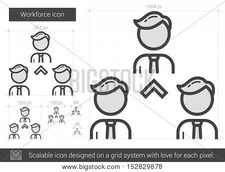 Workforce vector line icon isolated on white background. Workforce line icon for infographic, website or app. Scalable icon designed on a grid system.