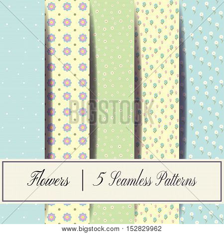 Set of vector seamless patterns of flowers and dots. Set of seamless patterns of spring flowers.