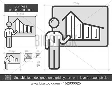 Businessman presentation vector line icon isolated on white background. Businessman presentation line icon for infographic, website or app. Scalable icon designed on a grid system.