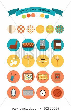 Vector set of furniture design. Set of vector icons of furniture lighting and home accessories.
