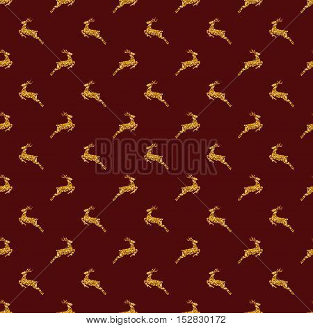 Merry Christmas and Happy New Year! Seamless pattern with glittering deers. Vector background in red and golden colors.