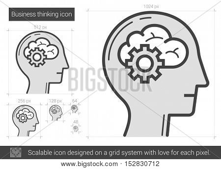 Business thinking vector line icon isolated on white background. Business thinking line icon for infographic, website or app. Scalable icon designed on a grid system.