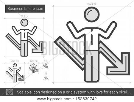 Business failure vector line icon isolated on white background. XXX line icon for infographic, website or app. Scalable icon designed on a grid system.