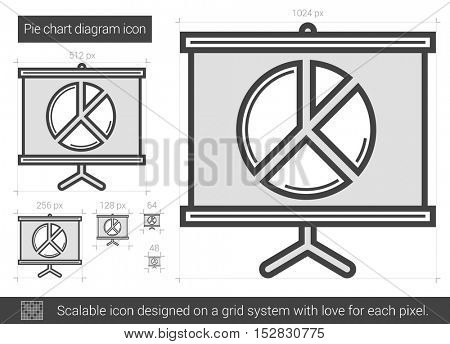 Pie chart diagram vector line icon isolated on white background. Pie chart diagram line icon for infographic, website or app. Scalable icon designed on a grid system.