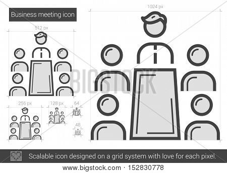 Business meeting vector line icon isolated on white background. Business meeting line icon for infographic, website or app. Scalable icon designed on a grid system.