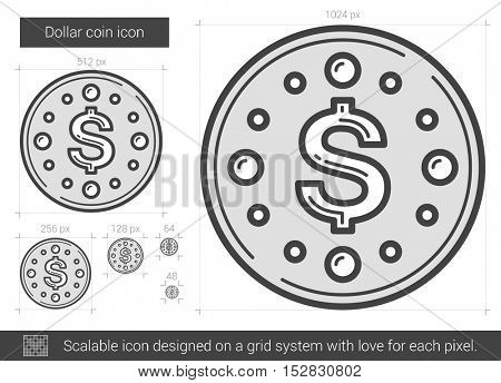 Dollar coin vector line icon isolated on white background. Dollar coin line icon for infographic, website or app. Scalable icon designed on a grid system.